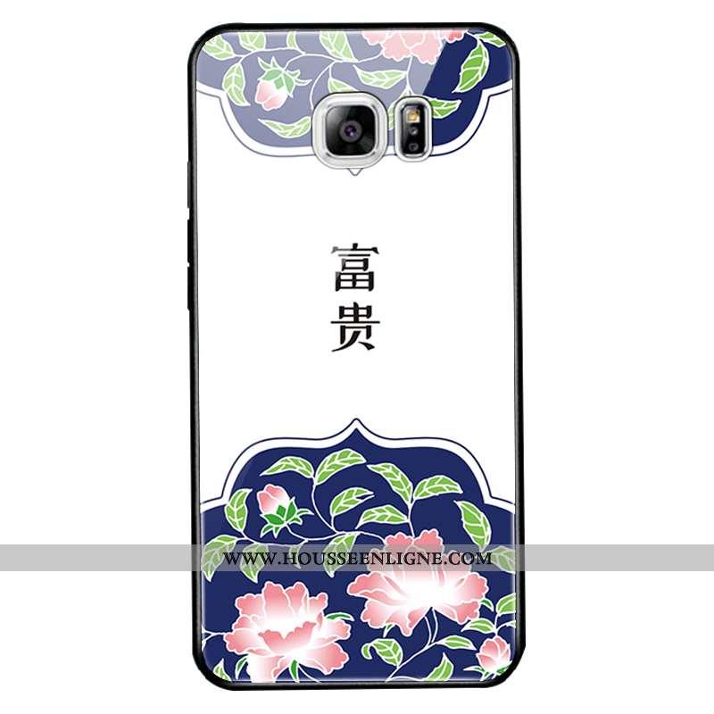 Housse Samsung Galaxy S6 Edge Verre Protection Étoile Téléphone Portable Blanc Coque Étui Blanche
