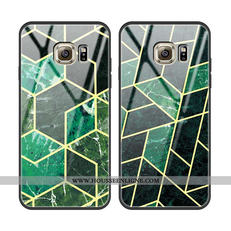 Housse Samsung Galaxy S6 Protection Verre Mode Amoureux Vert Légère Téléphone Portable Verte