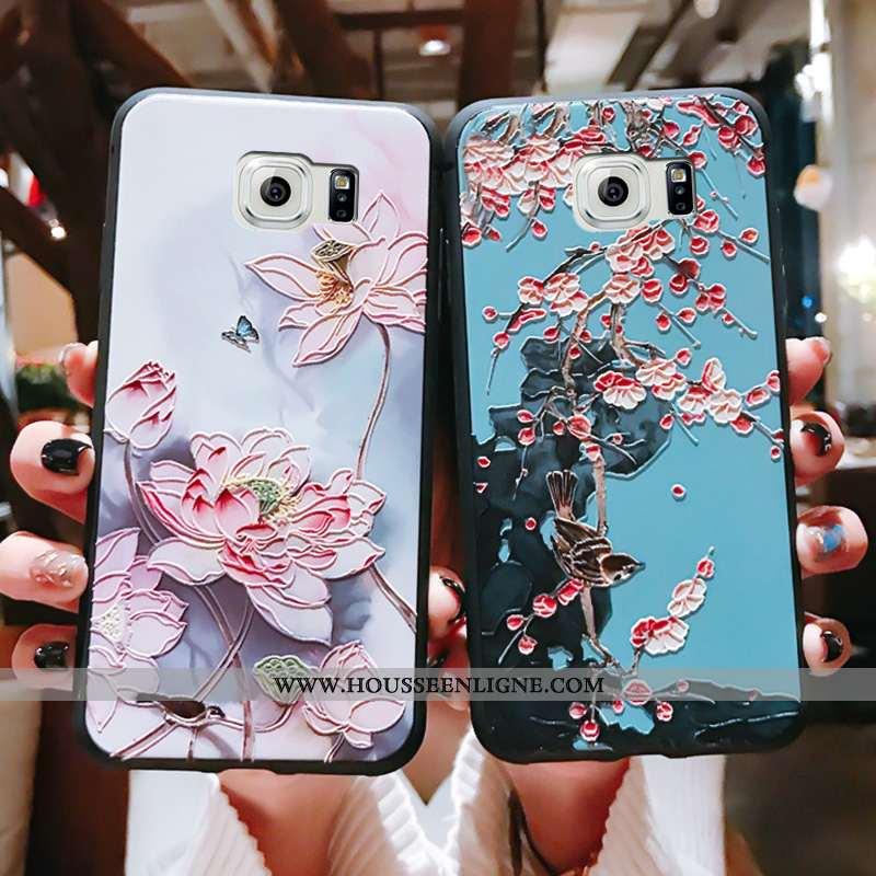 Housse Samsung Galaxy S6 Ultra Tendance Tout Compris Style Chinois Bleu Fluide Doux Téléphone Portab