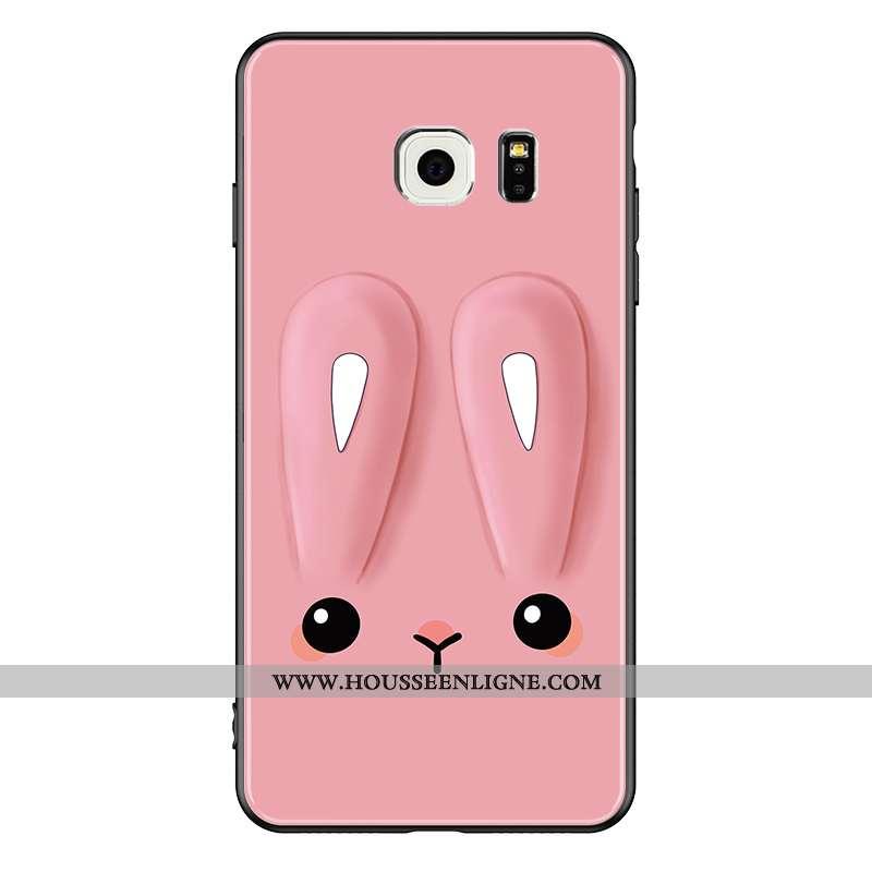 Housse Samsung Galaxy S6 Verre Personnalité Coque Tendance Lapin Dessin Animé Étoile Rose