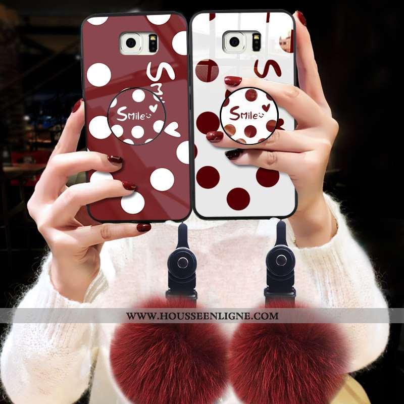 Housse Samsung Galaxy S6 Verre Tendance Étui Difficile Rouge Coque Téléphone Portable