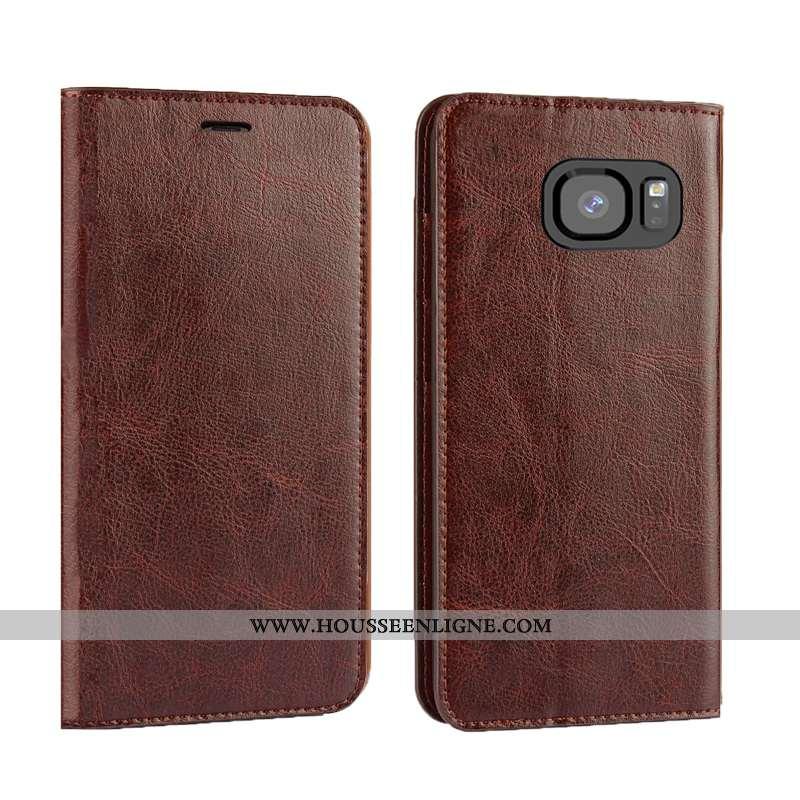 Housse Samsung Galaxy S7 Edge Cuir Véritable Cuir Bovins Qualité Tout Compris Clamshell Luxe Marron
