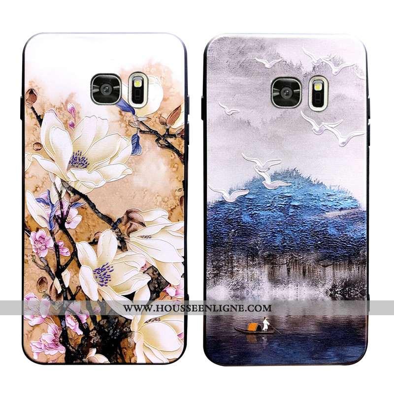 Housse Samsung Galaxy S7 Edge Délavé En Daim Ornements Suspendus Coque À Bord Fluide Doux Créatif Ma