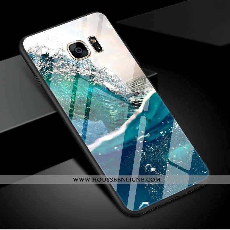Housse Samsung Galaxy S7 Edge Simple Coque Étoile Vert Vent Téléphone Portable Clair Verte