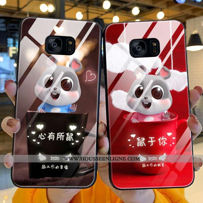 Housse Samsung Galaxy S7 Edge Verre Personnalité Silicone Amoureux Incassable Difficile Téléphone Po
