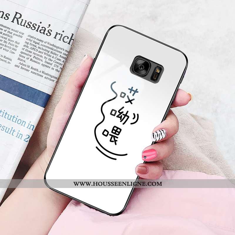 Housse Samsung Galaxy S7 Fluide Doux Silicone Simple Étui Blanc Tendance Vent Blanche