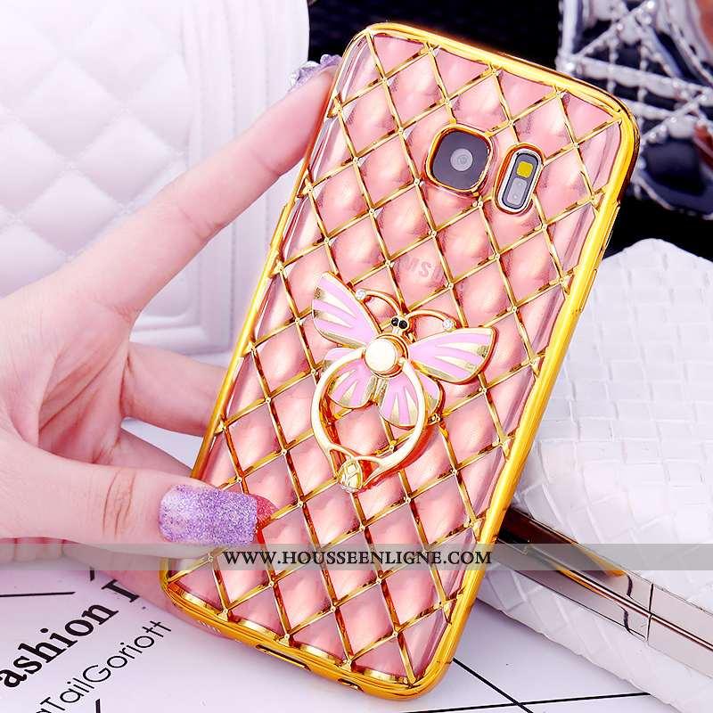 Housse Samsung Galaxy S7 Modèle Fleurie Protection Anneau Étui Rose Support Placage