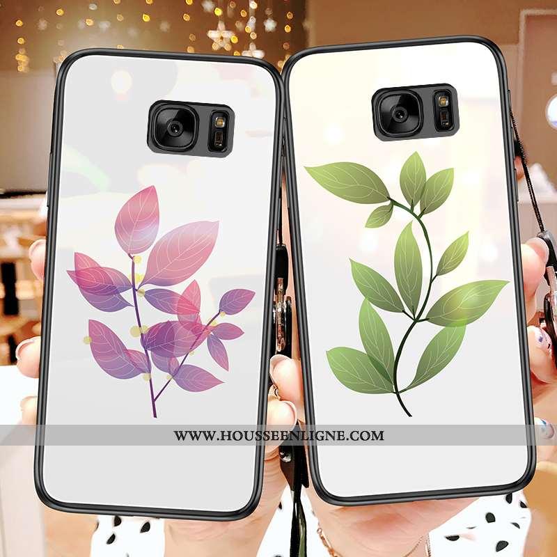 Housse Samsung Galaxy S7 Tendance Verre Frais Téléphone Portable Feuille Coque Étoile Blanche