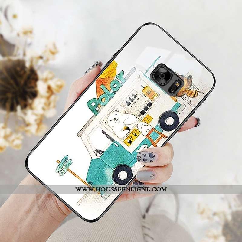 Housse Samsung Galaxy S7 Verre Personnalité Étoile Téléphone Portable Net Rouge Coque Protection Bla