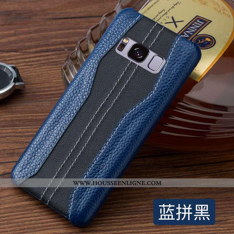 Housse Samsung Galaxy S8 Cuir Protection Coque Luxe Tout Compris Incassable Personnalité Bleu