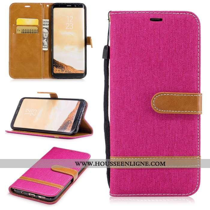 Housse Samsung Galaxy S8 Cuir Protection Rouge Étui Coque Étoile Téléphone Portable Rose