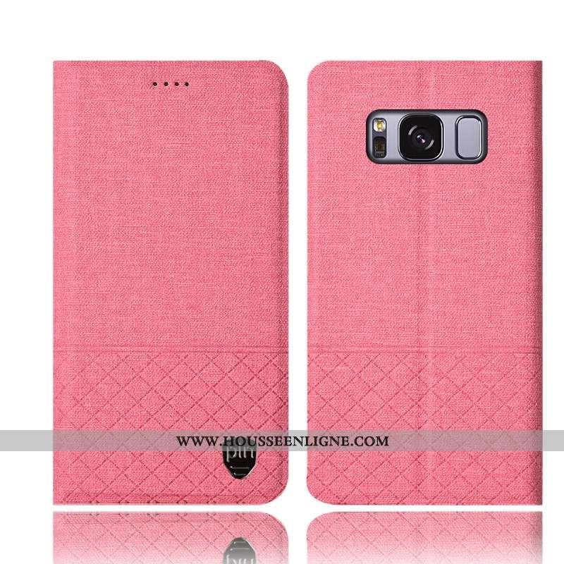 Housse Samsung Galaxy S8+ Protection Cuir Téléphone Portable Étui Coque Lin Rose