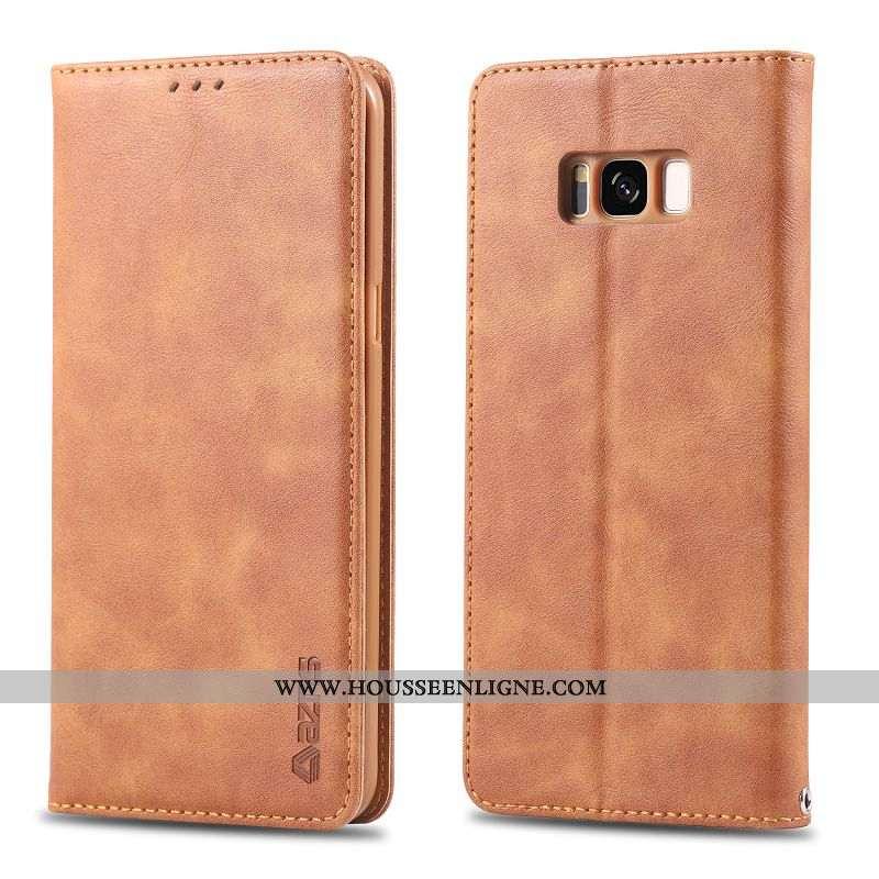 Housse Samsung Galaxy S8+ Protection Cuir Téléphone Portable Étui Tout Compris Coque Khaki