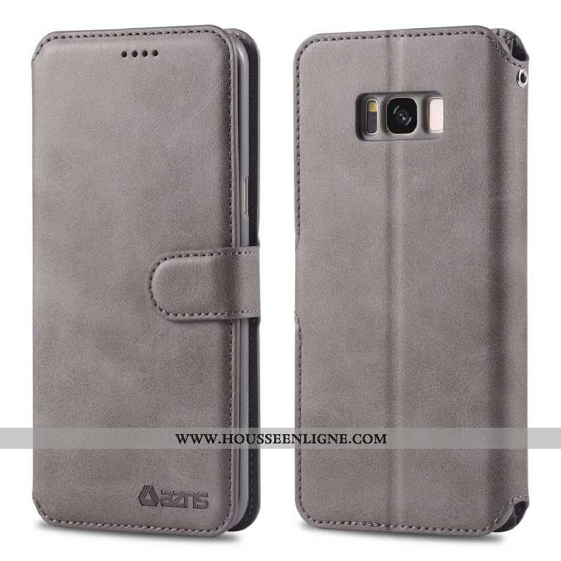Housse Samsung Galaxy S8 Protection Cuir Véritable Portefeuille Gris Téléphone Portable Étui