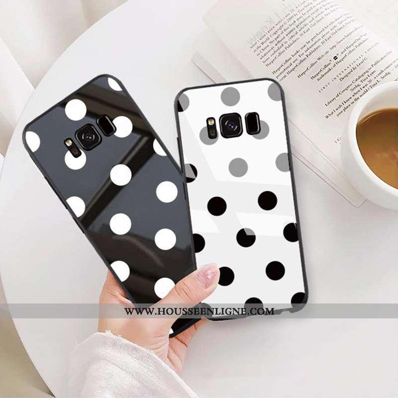 Housse Samsung Galaxy S8 Verre Personnalité Protection Étui Simple Tendance Coque Noir