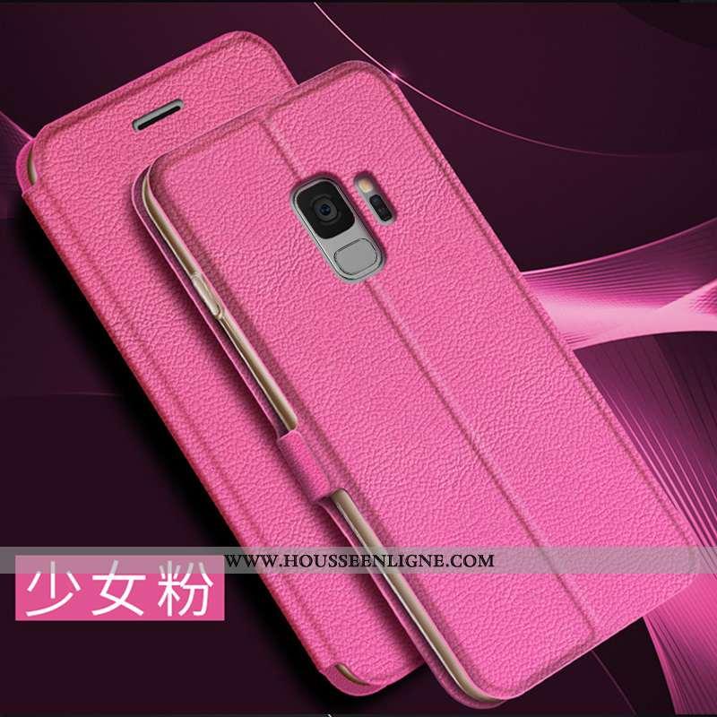 Housse Samsung Galaxy S9 Créatif Cuir Coque Étoile Personnalité Incassable Téléphone Portable Rose
