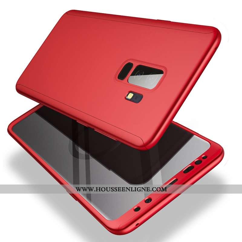 Housse Samsung Galaxy S9+ Légère Protection Incassable Difficile Noir Rouge Tout Compris