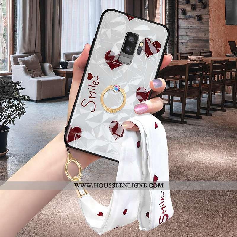 Housse Samsung Galaxy S9+ Ornements Suspendus Tendance Blanc Net Rouge Téléphone Portable Silicone P