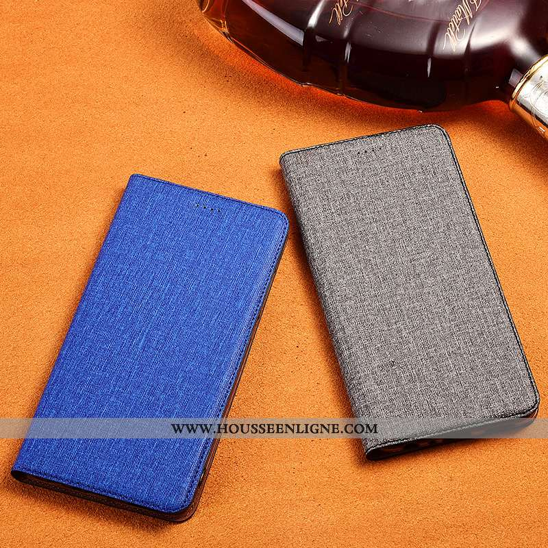 Housse Samsung Galaxy S9+ Protection Cuir Coque Bleu Lin Étui Incassable