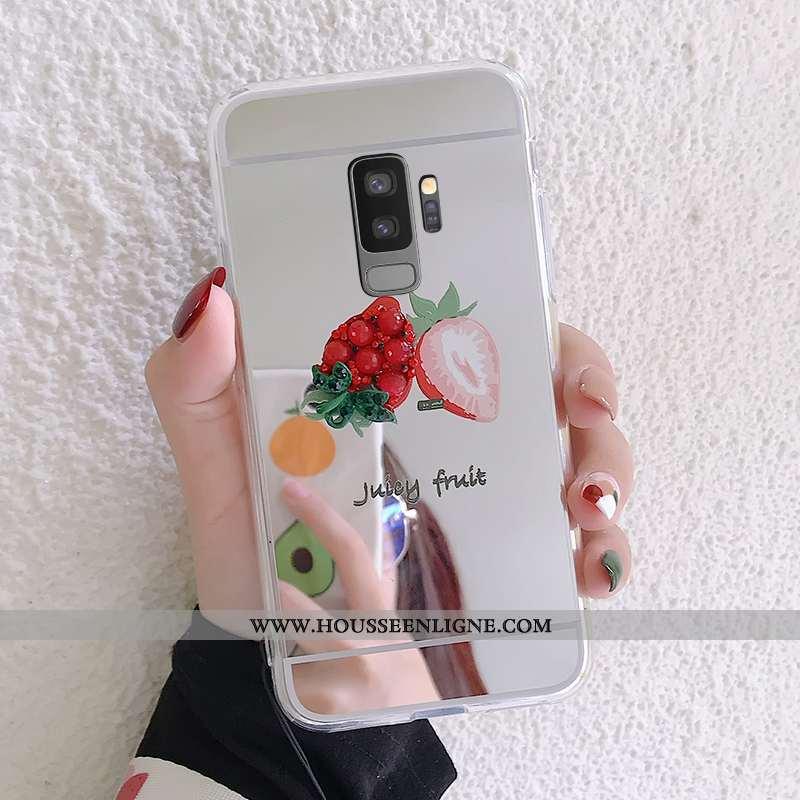 Housse Samsung Galaxy S9+ Protection Ornements Suspendus Argent Étui Nouveau Fraise Téléphone Portab
