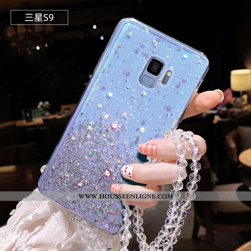 Housse Samsung Galaxy S9 Protection Transparent Silicone Rose Ornements Suspendus Incassable Étui Bl