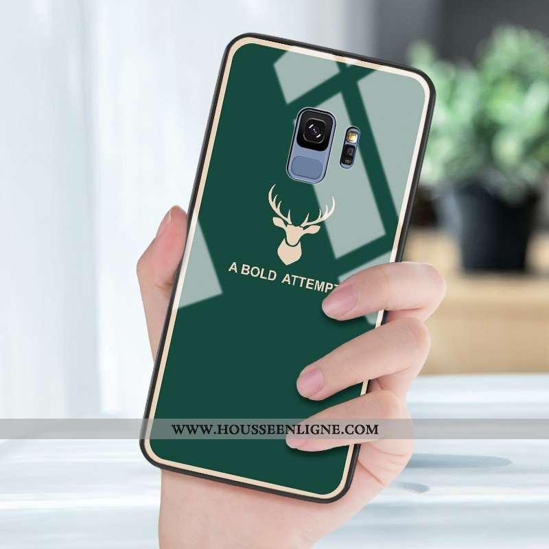 Housse Samsung Galaxy S9 Protection Verre Vert Personnalité Étoile Net Rouge Miroir Verte