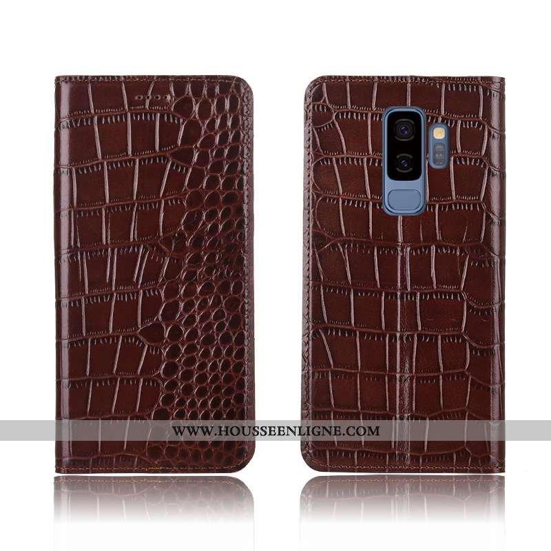 Housse Samsung Galaxy S9+ Silicone Protection Étui Tout Compris Nouveau Cuir Véritable Coque Marron