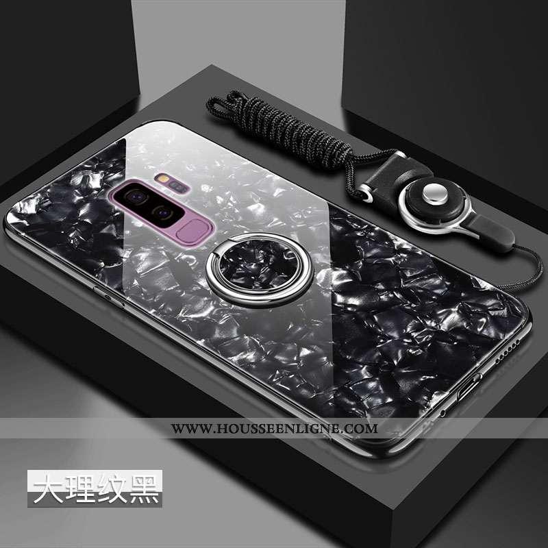 Housse Samsung Galaxy S9+ Silicone Protection Pu Noir Verre Étui Net Rouge