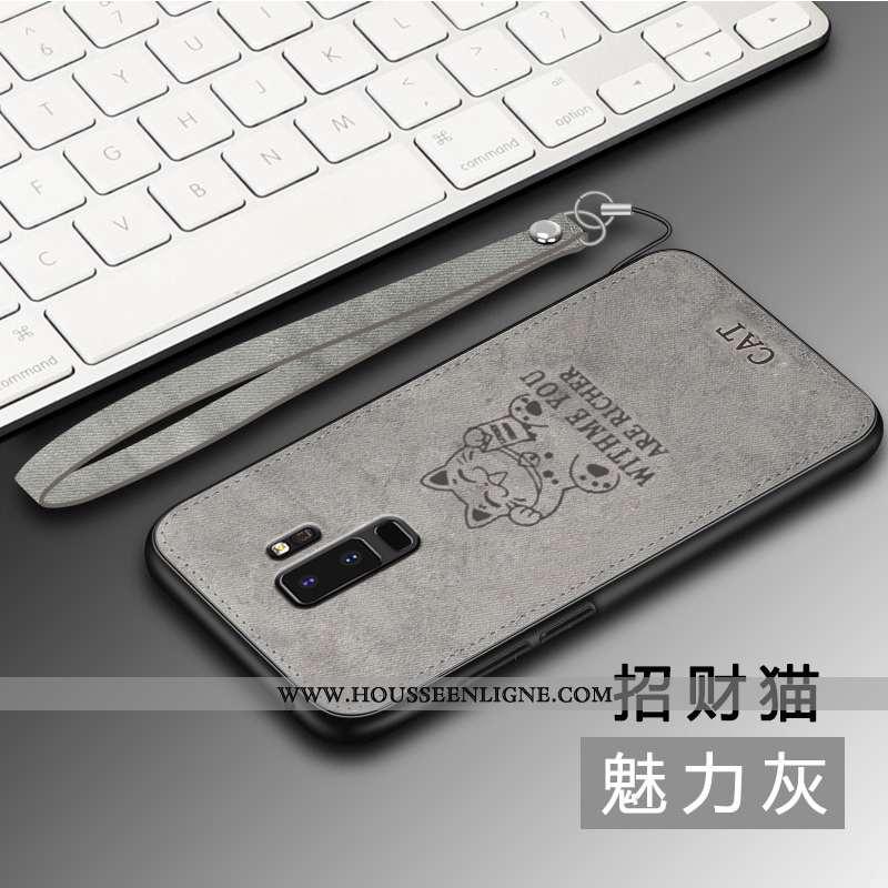 Housse Samsung Galaxy S9+ Tendance Légère Gris Coque Net Rouge Étui Téléphone Portable