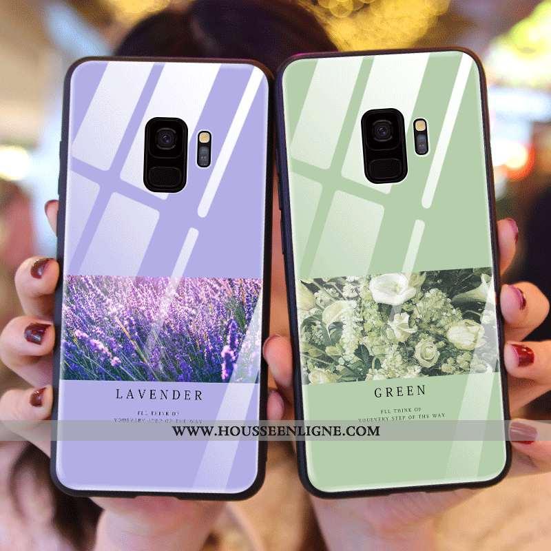 Housse Samsung Galaxy S9 Verre Créatif Net Rouge Incassable Fleurs Nouveau Étui Verte