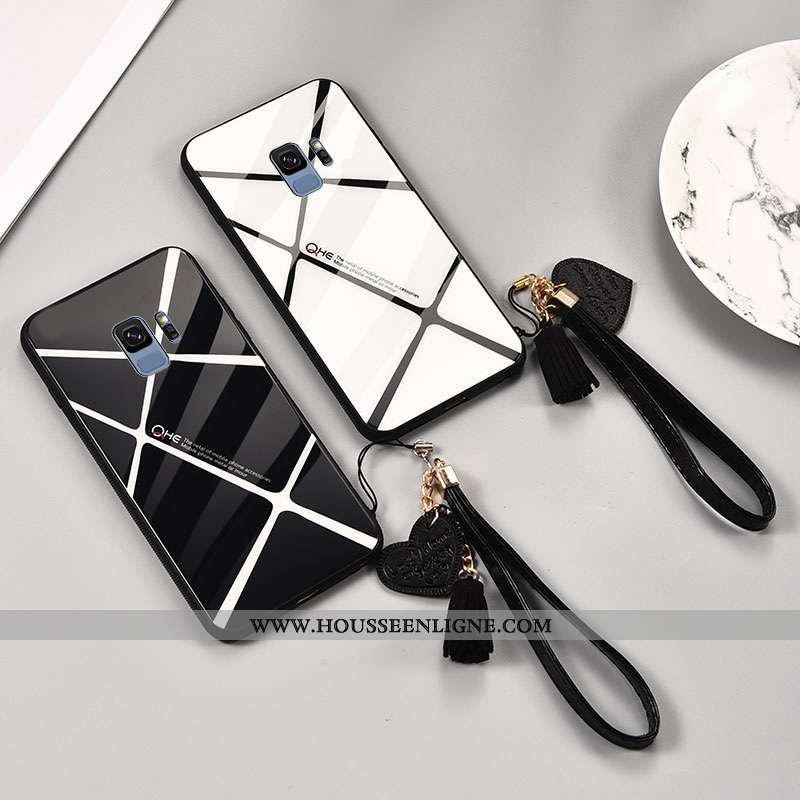 Housse Samsung Galaxy S9 Verre Personnalité Étoile Étui Noir Miroir Plaid