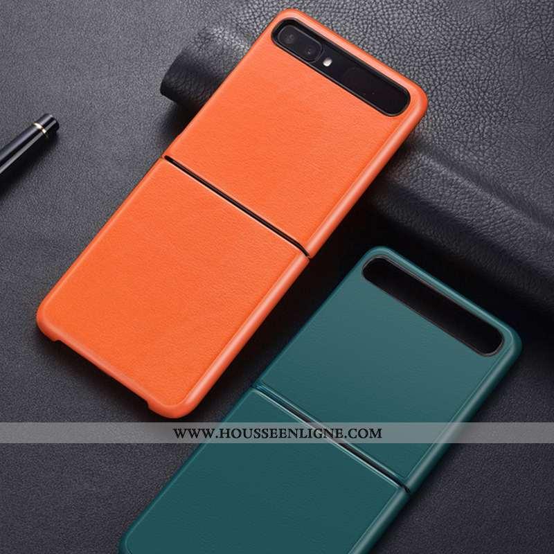 Housse Samsung Z Flip Personnalité Créatif Cuir Tout Compris Protection Couleur Unie Coque Orange