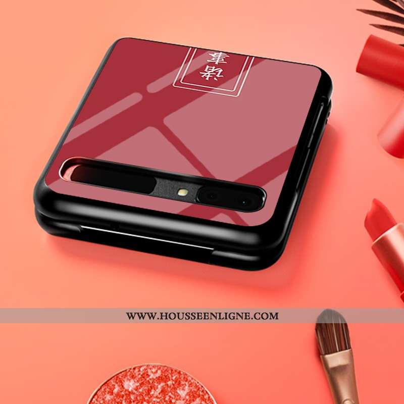 Housse Samsung Z Flip Verre Personnalité Personnalisé Protection Plier Étui Téléphone Portable Rouge