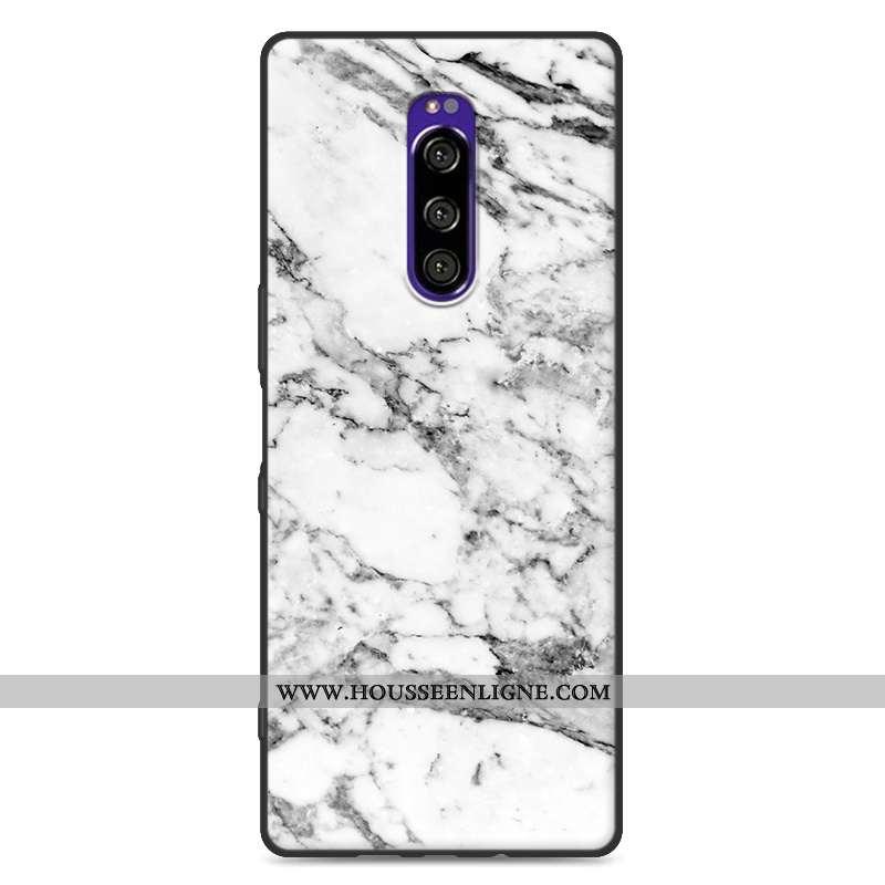 Housse Sony Xperia 1 Fluide Doux Silicone Grand Téléphone Portable Blanc Modèle Fleurie Protection B