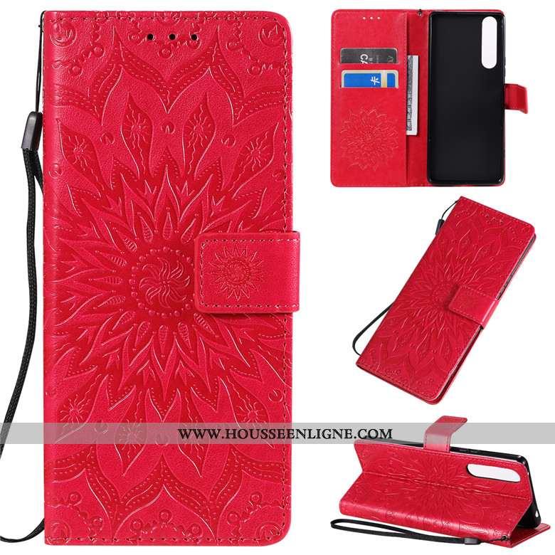 Housse Sony Xperia 1 Ii Créatif Cuir Fluide Doux Protection Incassable Clamshell Coque Rouge