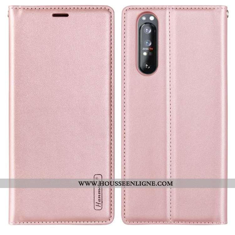 Housse Sony Xperia 1 Ii Cuir Véritable Cuir Étui Magnétisme Téléphone Portable Carte Rose