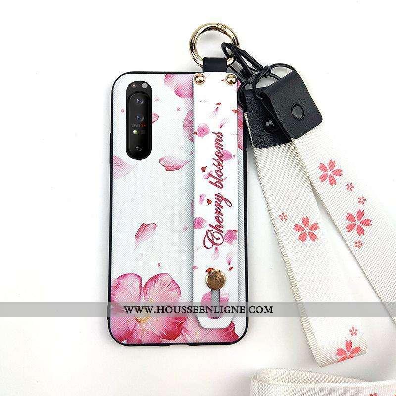 Housse Sony Xperia 1 Ii Fluide Doux Protection Étui Téléphone Portable Support Blanc Fleur Blanche