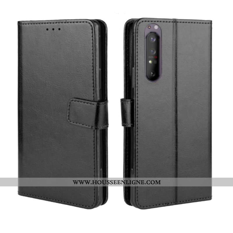 Housse Sony Xperia 1 Ii Modèle Fleurie Protection Cuir Incassable Coque Noir Carte