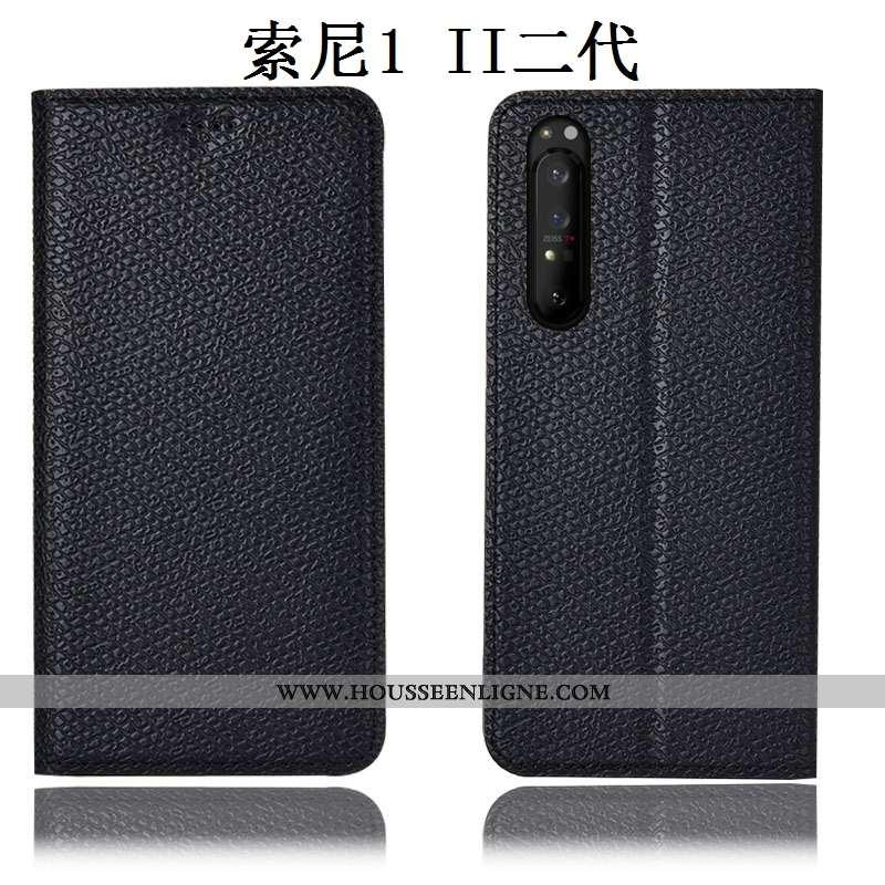 Housse Sony Xperia 1 Ii Protection Cuir Véritable Noir Incassable Mesh Coque