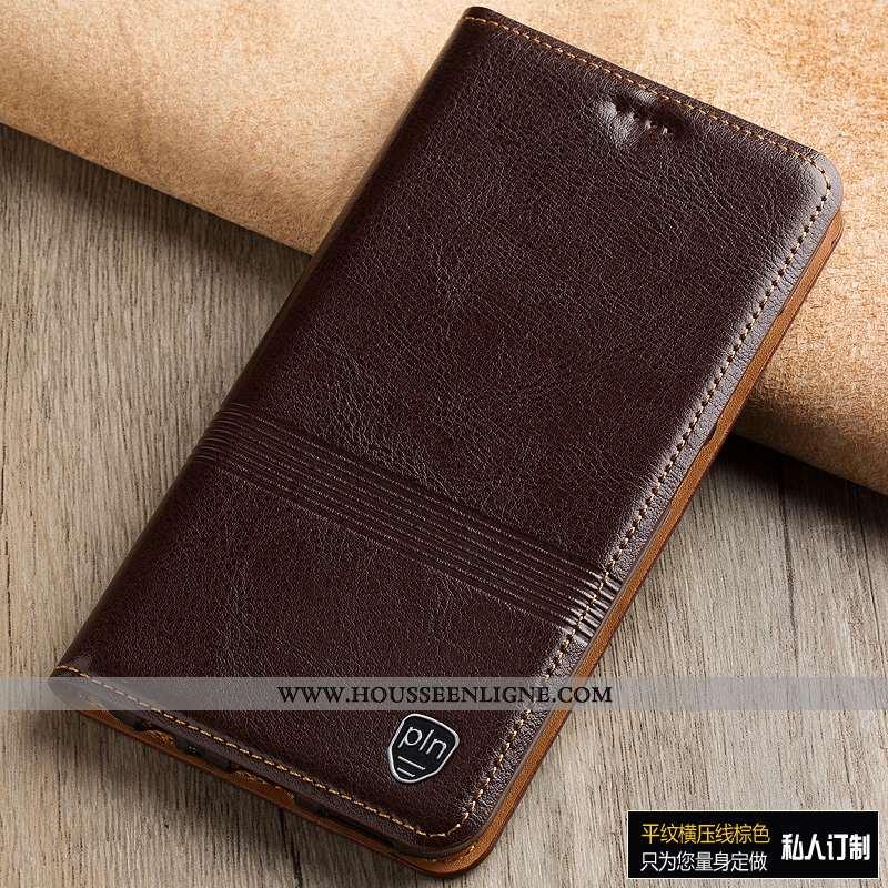Housse Sony Xperia 1 Protection Cuir Véritable Coque Marron Téléphone Portable Étui