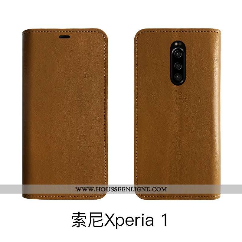 Housse Sony Xperia 1 Protection Cuir Véritable Fluide Doux Étui Business Téléphone Portable Vintage