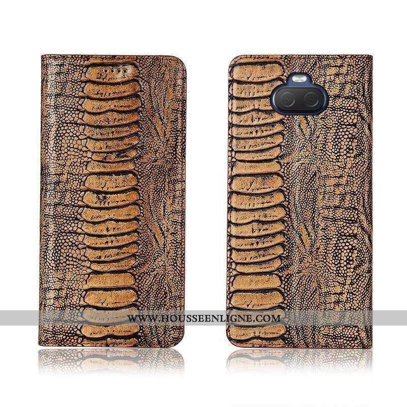 Housse Sony Xperia 10 Cuir Fluide Doux Silicone Étui Incassable Téléphone Portable Clamshell Khaki