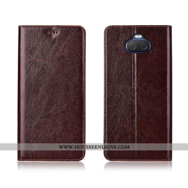 Housse Sony Xperia 10 Cuir Véritable Cuir Fluide Doux Modèle Fleurie Téléphone Portable Protection É