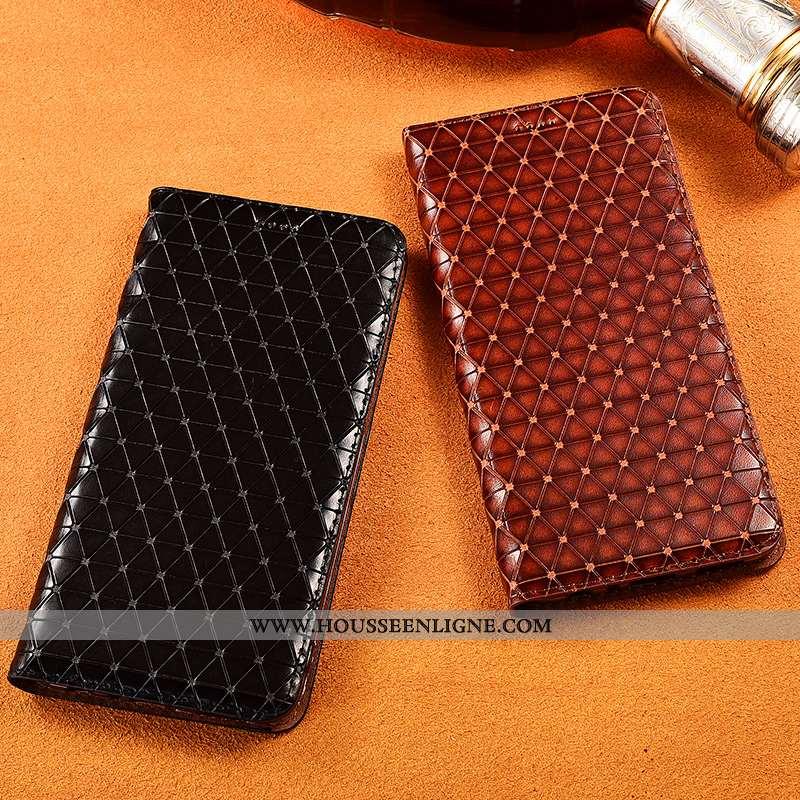 Housse Sony Xperia 10 Cuir Véritable Cuir Plaid Protection Noir Téléphone Portable Silicone