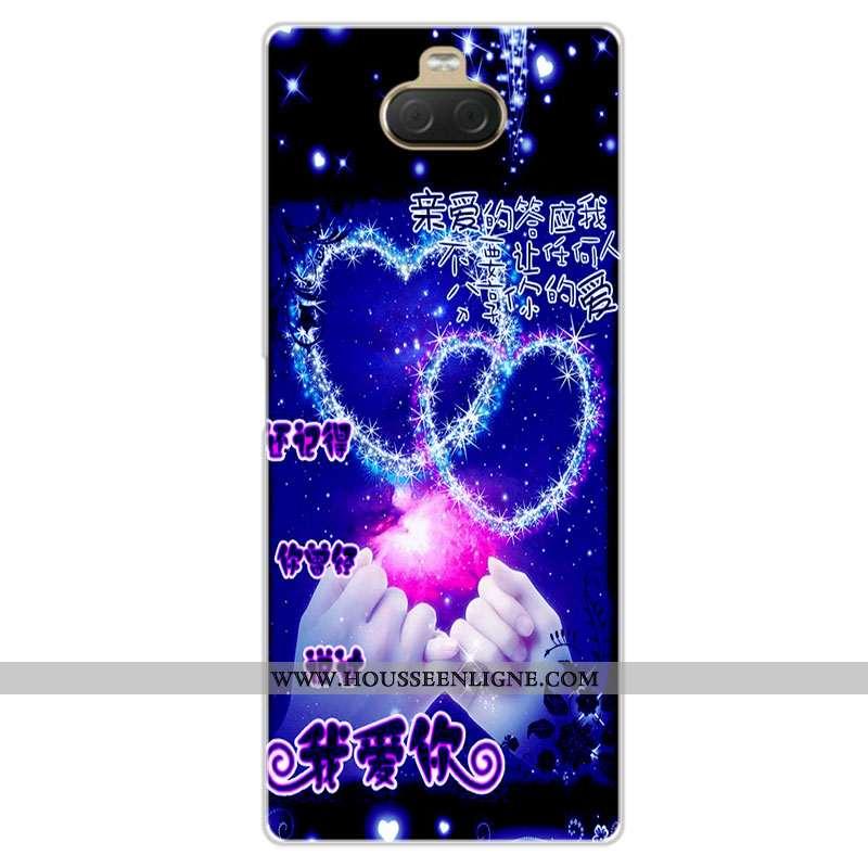 Housse Sony Xperia 10 Fluide Doux Silicone Coque Protection Téléphone Portable Amoureux Étui Bleu