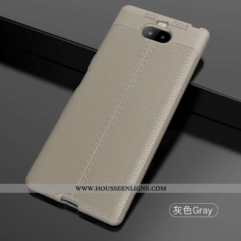 Housse Sony Xperia 10 Fluide Doux Silicone Téléphone Portable Gris Modèle Fleurie Coque Cuir