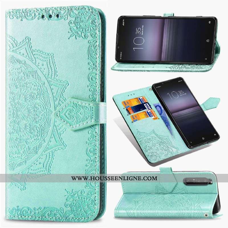 Housse Sony Xperia 10 Ii Cuir Protection Incassable Clamshell Étui Vert Téléphone Portable Verte