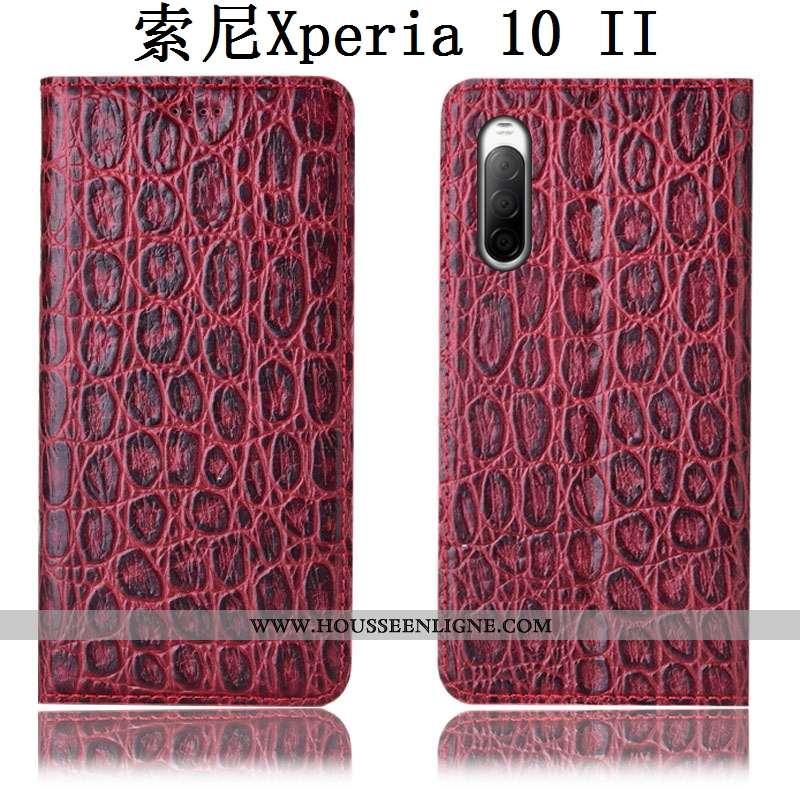 Housse Sony Xperia 10 Ii Cuir Véritable Modèle Fleurie Protection Téléphone Portable Coque Étui Roug