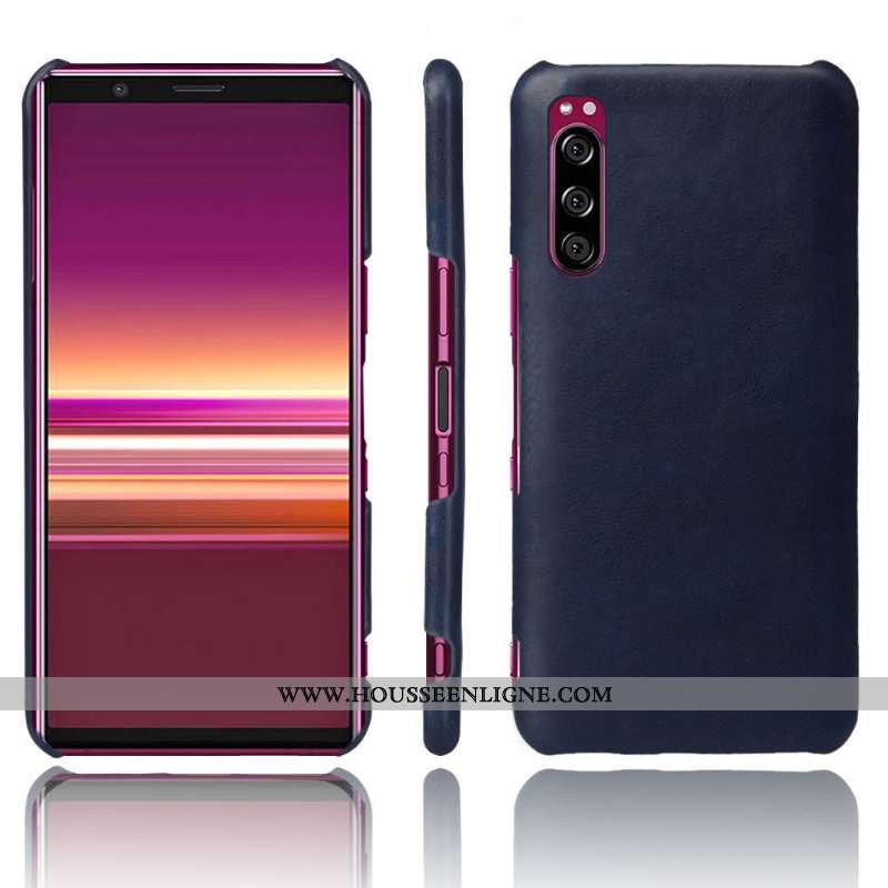 Housse Sony Xperia 10 Ii Protection Cuir Téléphone Portable Qualité Étui Coque Bleu Marin Bleu Foncé