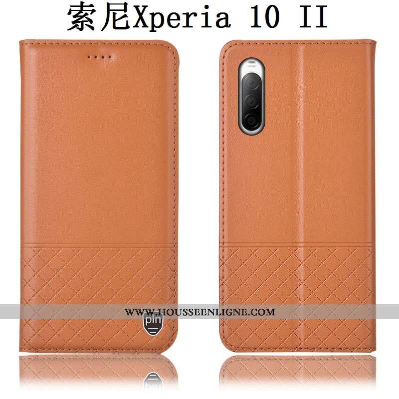 Housse Sony Xperia 10 Ii Protection Cuir Véritable Étui Téléphone Portable Coque Incassable Marron